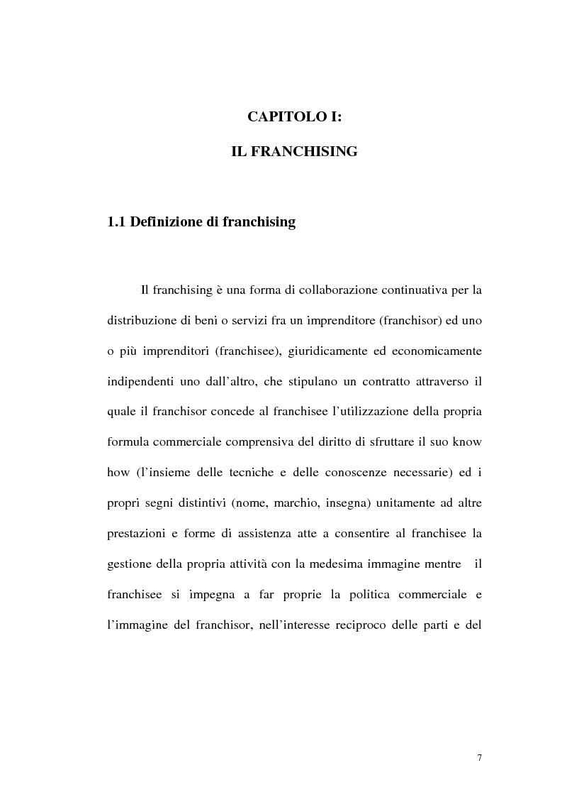 Anteprima della tesi: Franchising e agenzie di viaggio: analisi comparata delle proposte a tutela del franchisee, Pagina 5