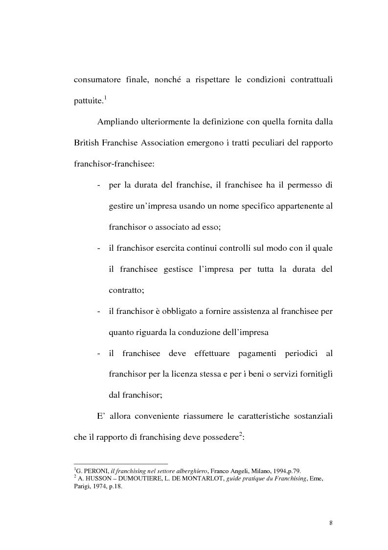 Anteprima della tesi: Franchising e agenzie di viaggio: analisi comparata delle proposte a tutela del franchisee, Pagina 6