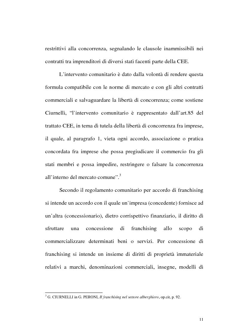 Anteprima della tesi: Franchising e agenzie di viaggio: analisi comparata delle proposte a tutela del franchisee, Pagina 9