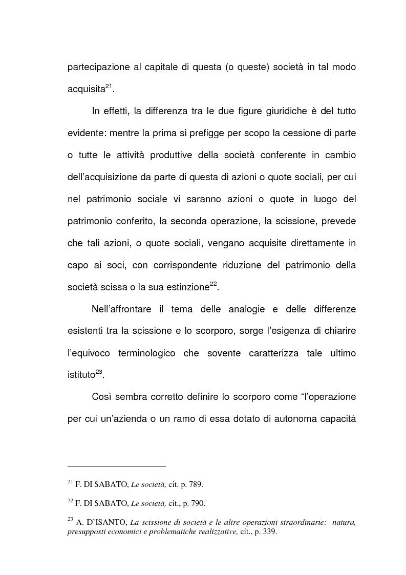Anteprima della tesi: Scissione di società e assegnazione delle quote o azioni, Pagina 12