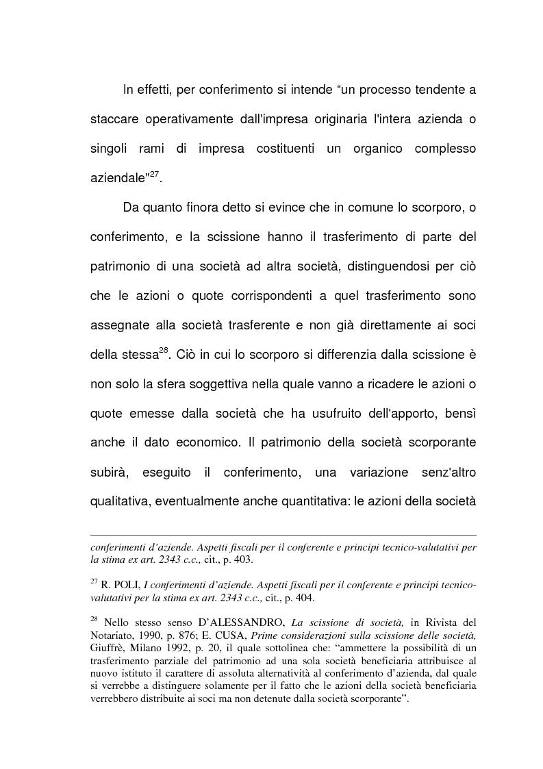 Anteprima della tesi: Scissione di società e assegnazione delle quote o azioni, Pagina 14
