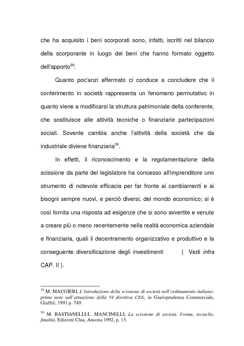 Anteprima della tesi: Scissione di società e assegnazione delle quote o azioni, Pagina 15