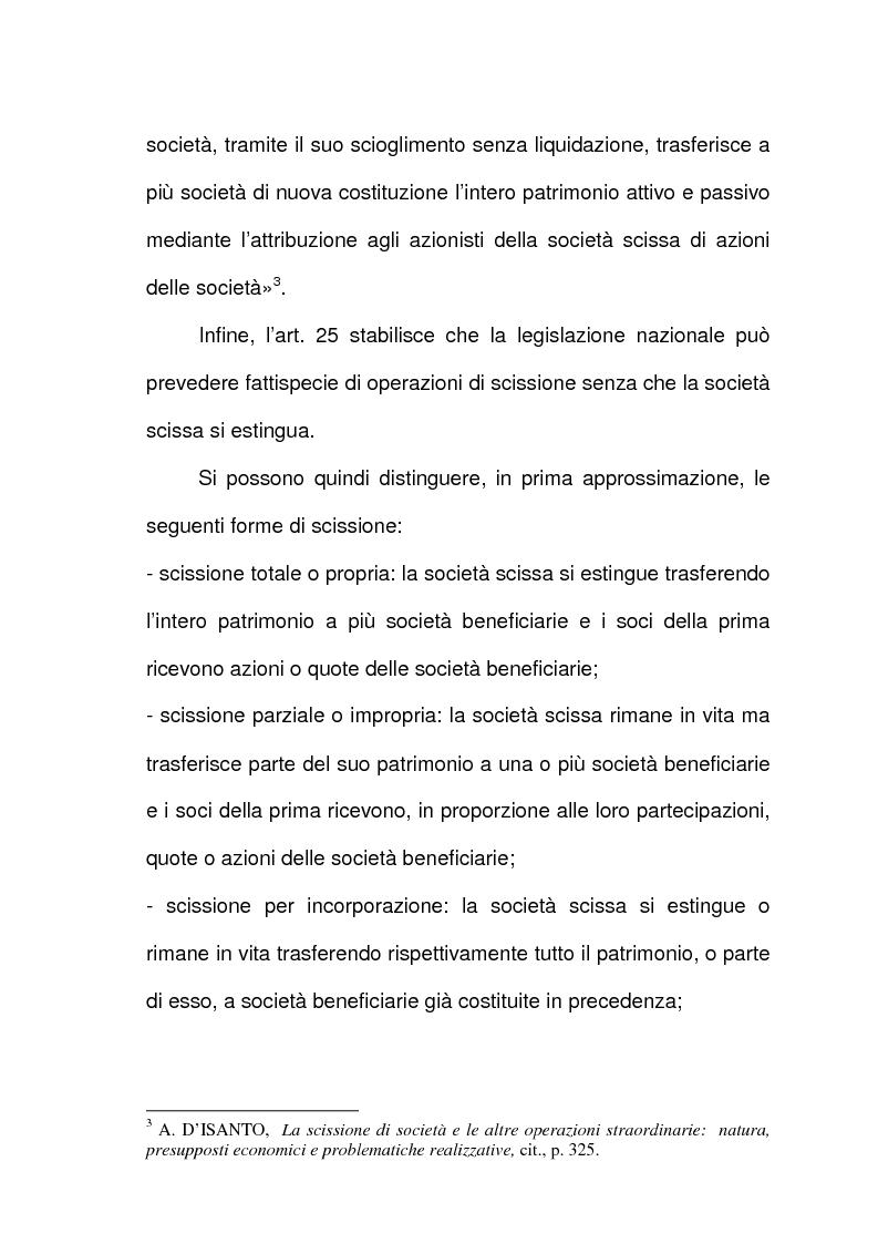 Anteprima della tesi: Scissione di società e assegnazione delle quote o azioni, Pagina 2