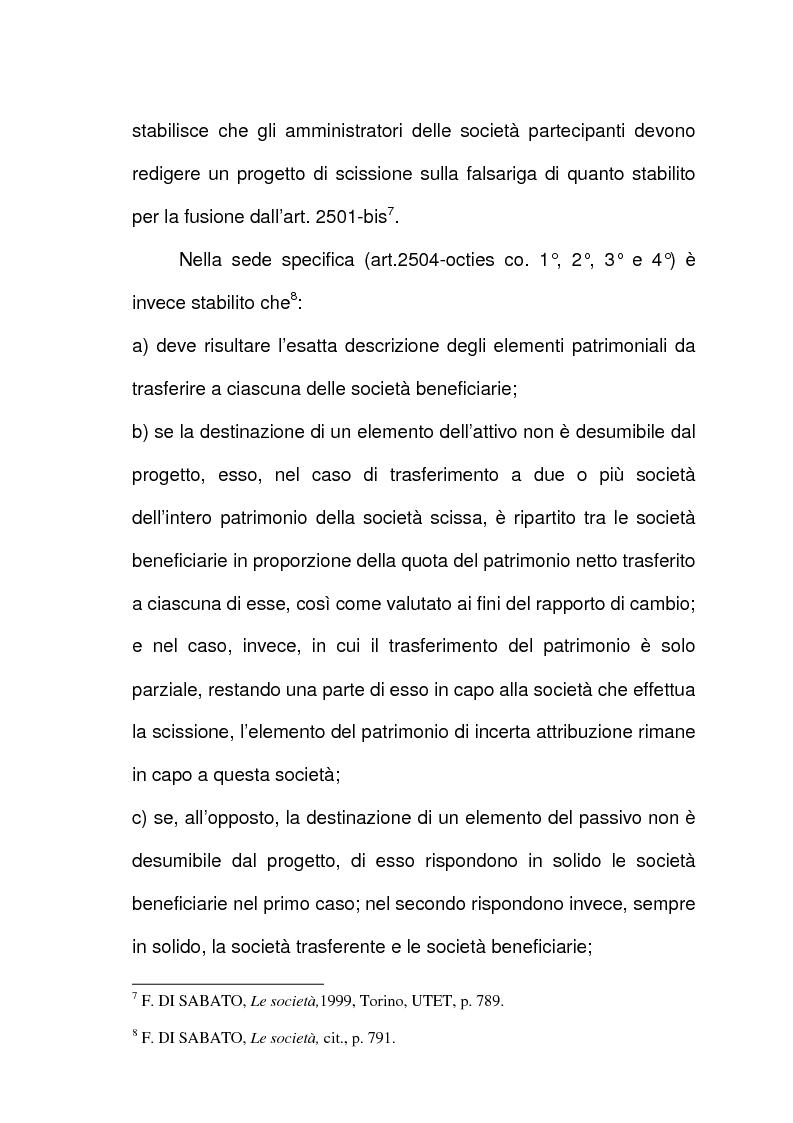 Anteprima della tesi: Scissione di società e assegnazione delle quote o azioni, Pagina 5