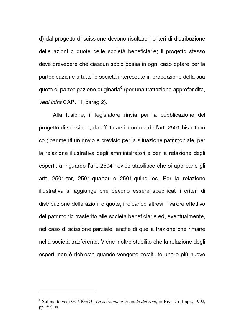 Anteprima della tesi: Scissione di società e assegnazione delle quote o azioni, Pagina 6