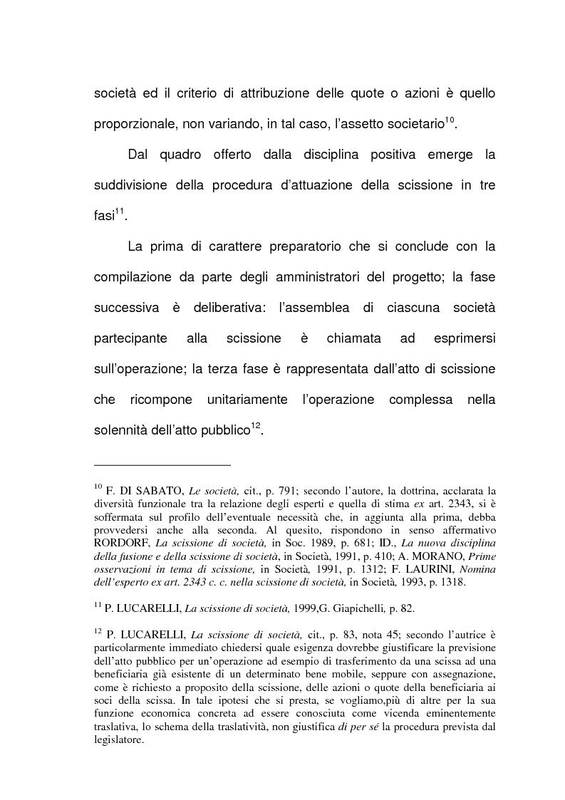 Anteprima della tesi: Scissione di società e assegnazione delle quote o azioni, Pagina 7