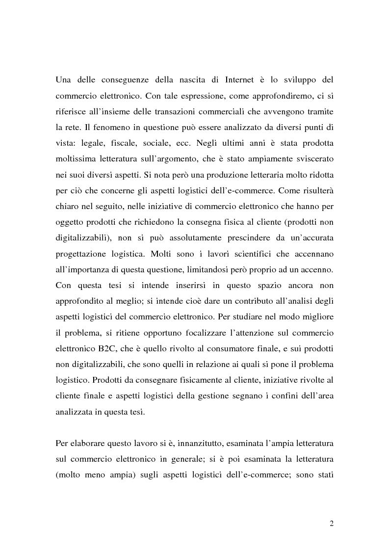 Anteprima della tesi: Il ruolo della logistica nello sviluppo del commercio elettronico, Pagina 2