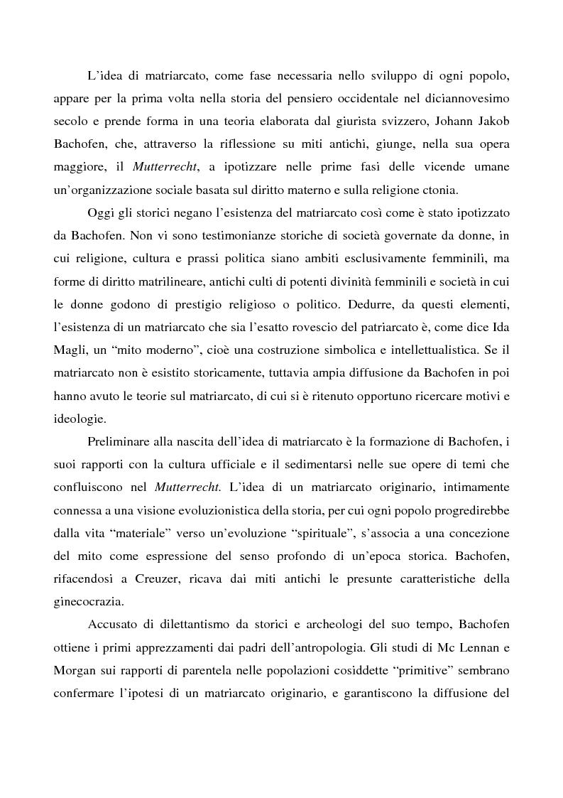 Anteprima della tesi: La costruzione di un mito. L'influenza di JJ Bachofen sul pensiero contemporaneo, Pagina 1