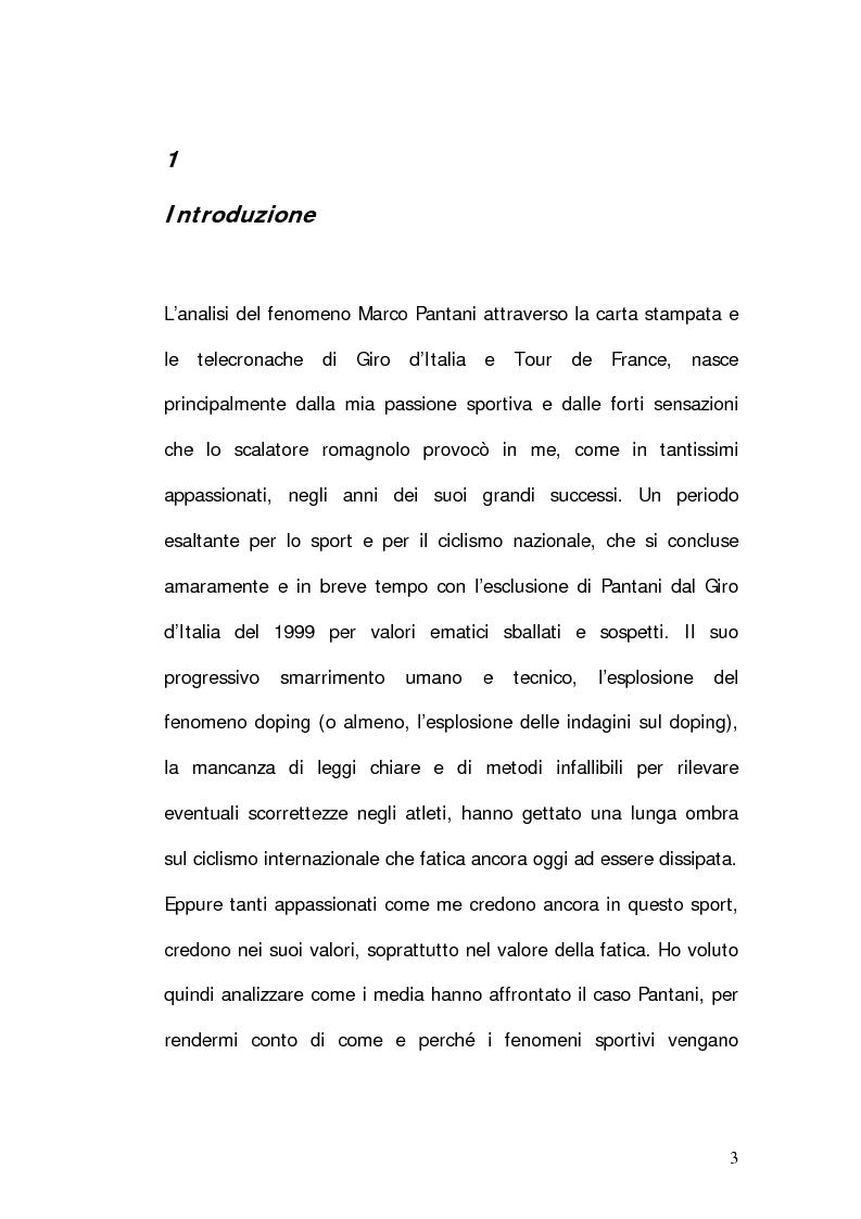 Anteprima della tesi: Marco Pantani: costruzione ed evoluzione del mito mediatico, Pagina 1