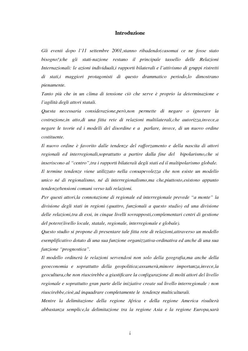 Anteprima della tesi: Le tendenze del regionalismo e dell'interregionalismo, Pagina 1