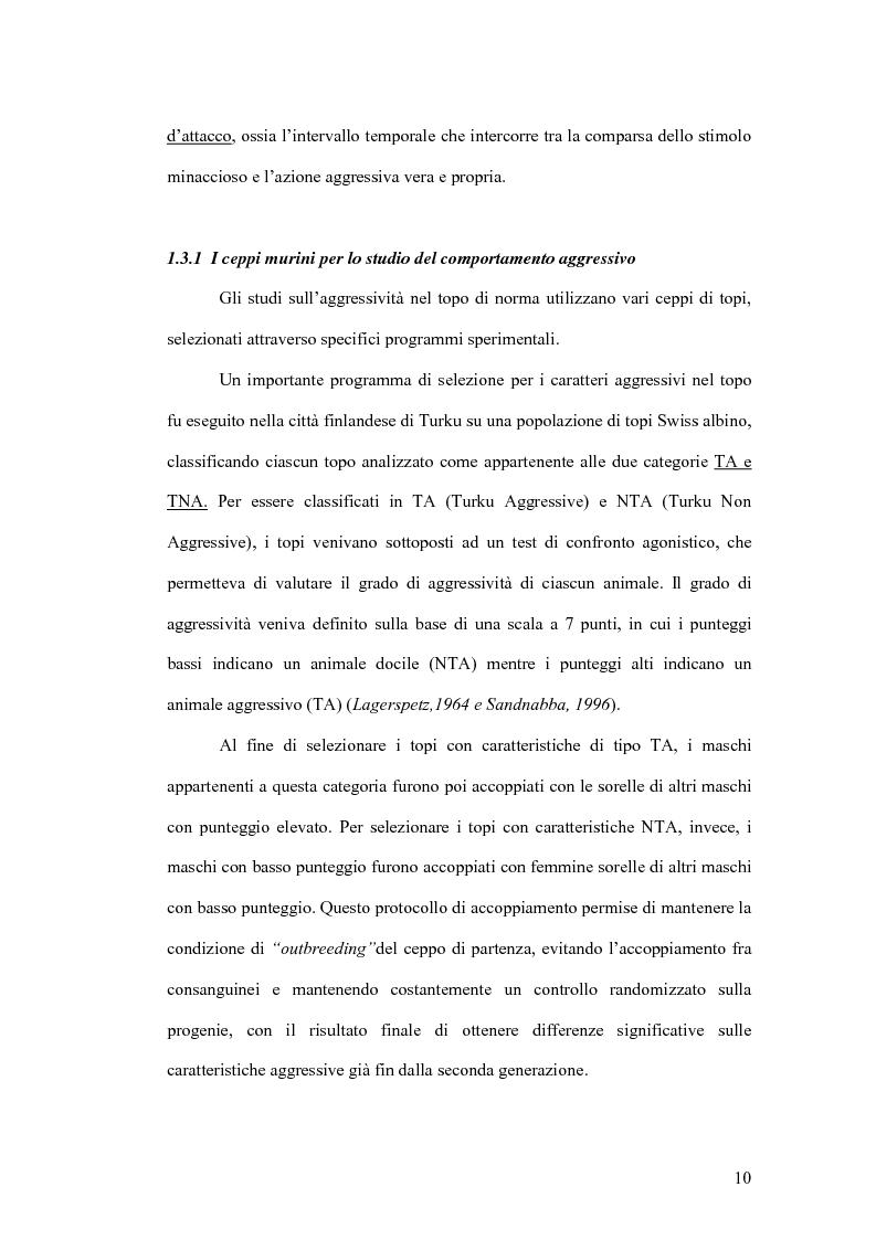 Anteprima della tesi: Basi neurobiologiche del comportamento aggressivo, Pagina 10