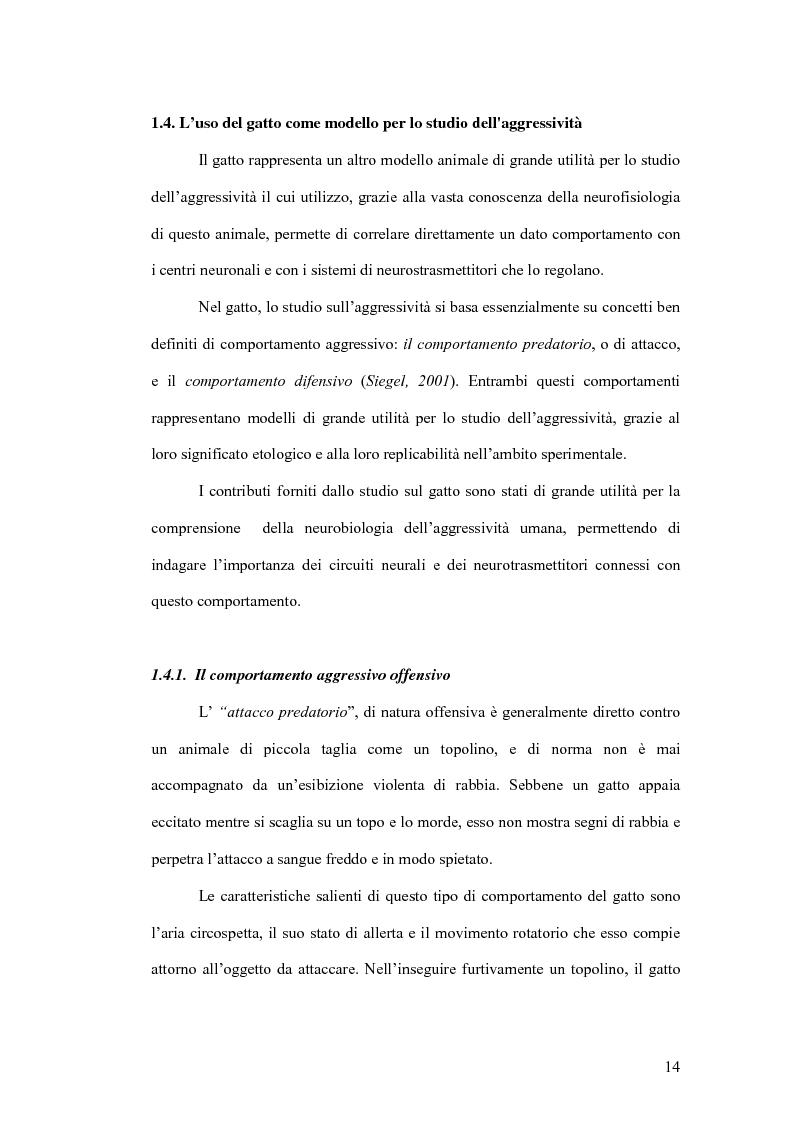 Anteprima della tesi: Basi neurobiologiche del comportamento aggressivo, Pagina 14