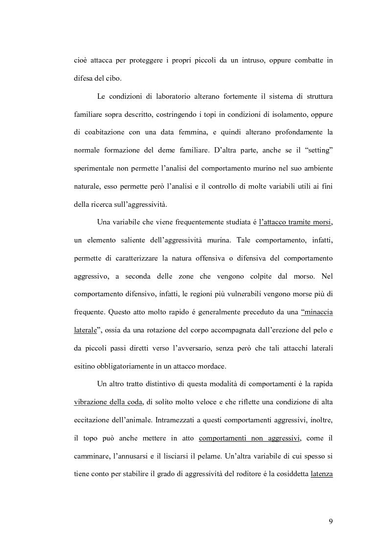 Anteprima della tesi: Basi neurobiologiche del comportamento aggressivo, Pagina 9