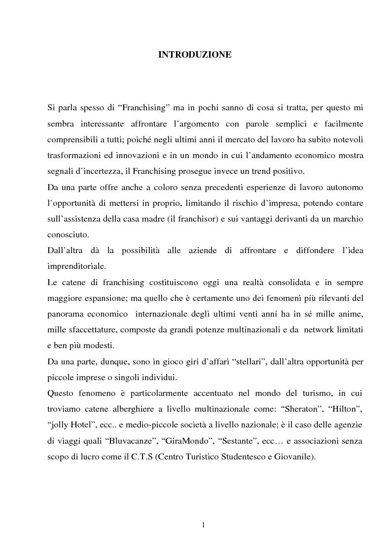Anteprima della tesi: Il franchising nel turismo: il caso C.T.S (Centro Turistico Studentesco e Giovanile), Pagina 1