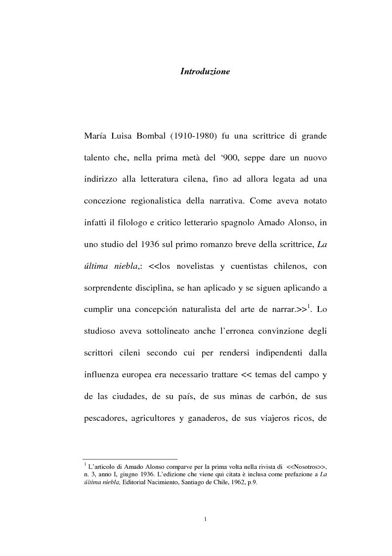 Anteprima della tesi: La personalità e l'opera di Maria Luisa Bombal, Pagina 1