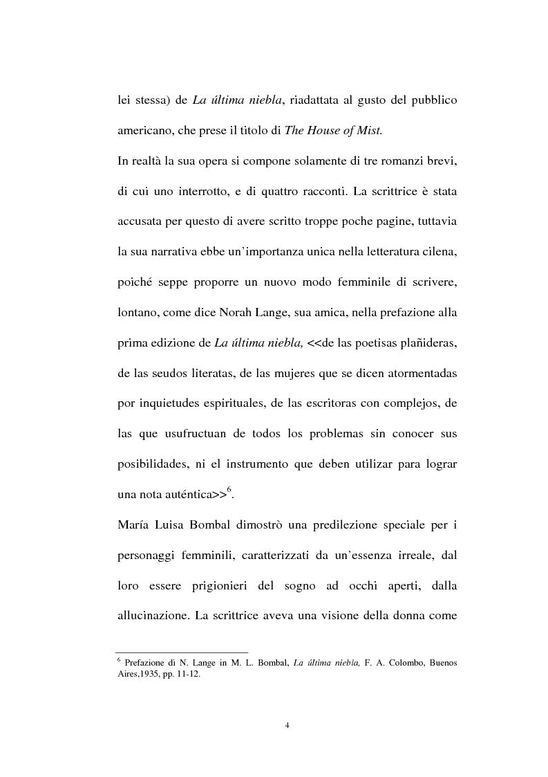 Anteprima della tesi: La personalità e l'opera di Maria Luisa Bombal, Pagina 4