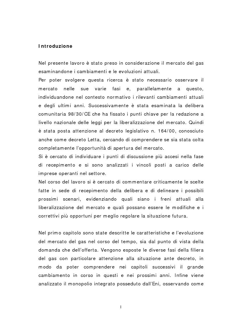 Anteprima della tesi: Liberalizzazione del mercato del gas, Pagina 1