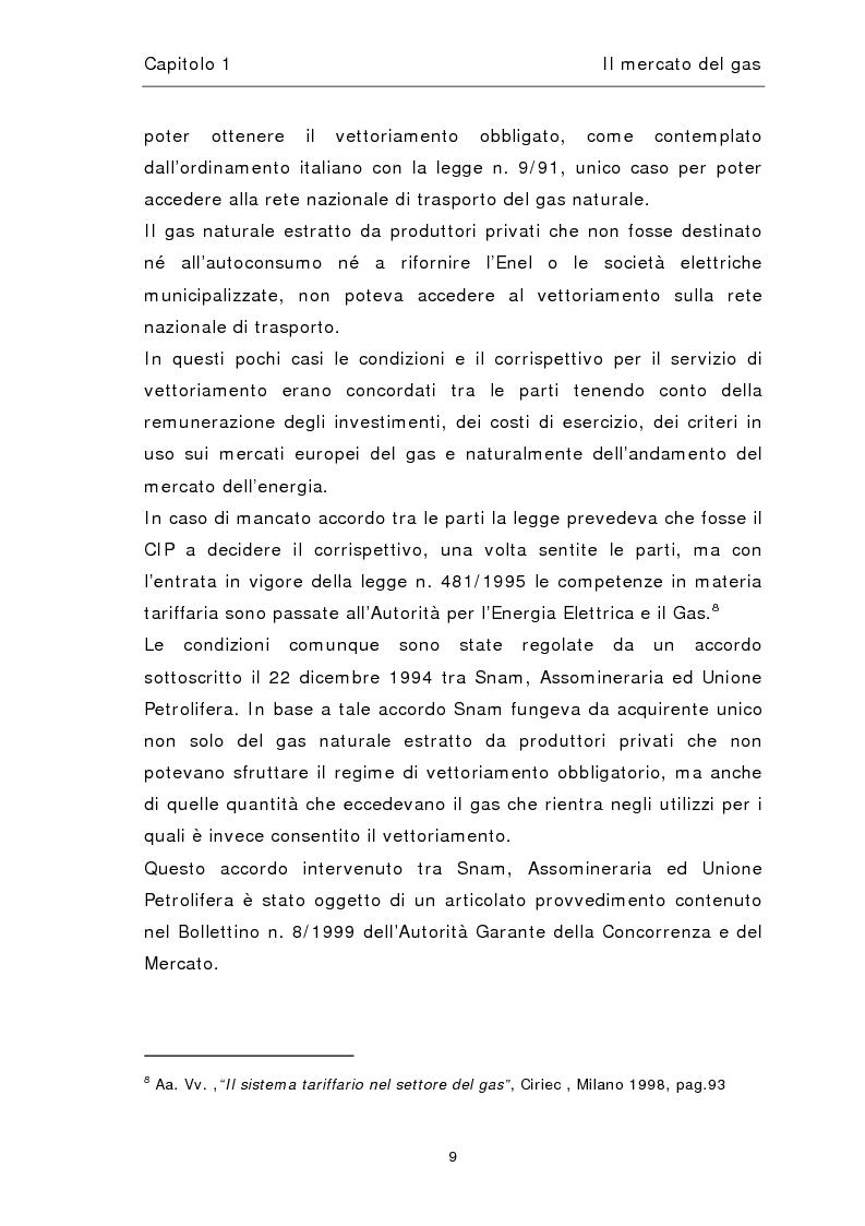 Anteprima della tesi: Liberalizzazione del mercato del gas, Pagina 13