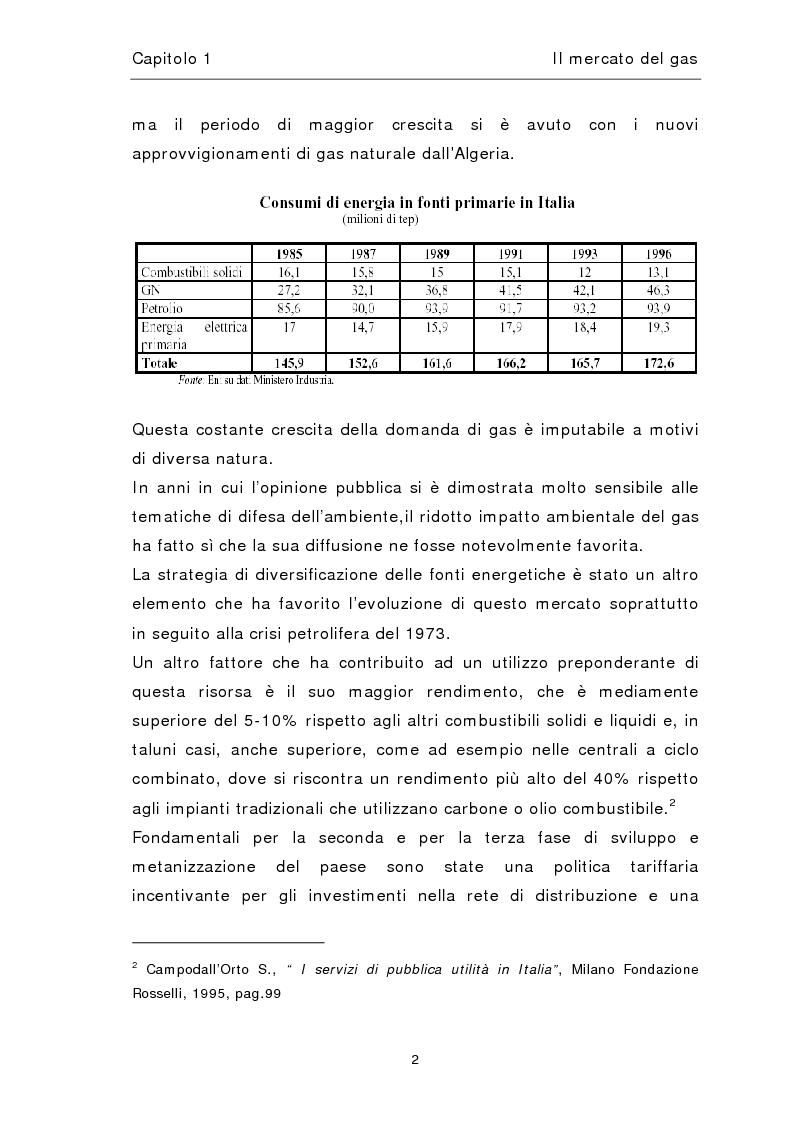 Anteprima della tesi: Liberalizzazione del mercato del gas, Pagina 6