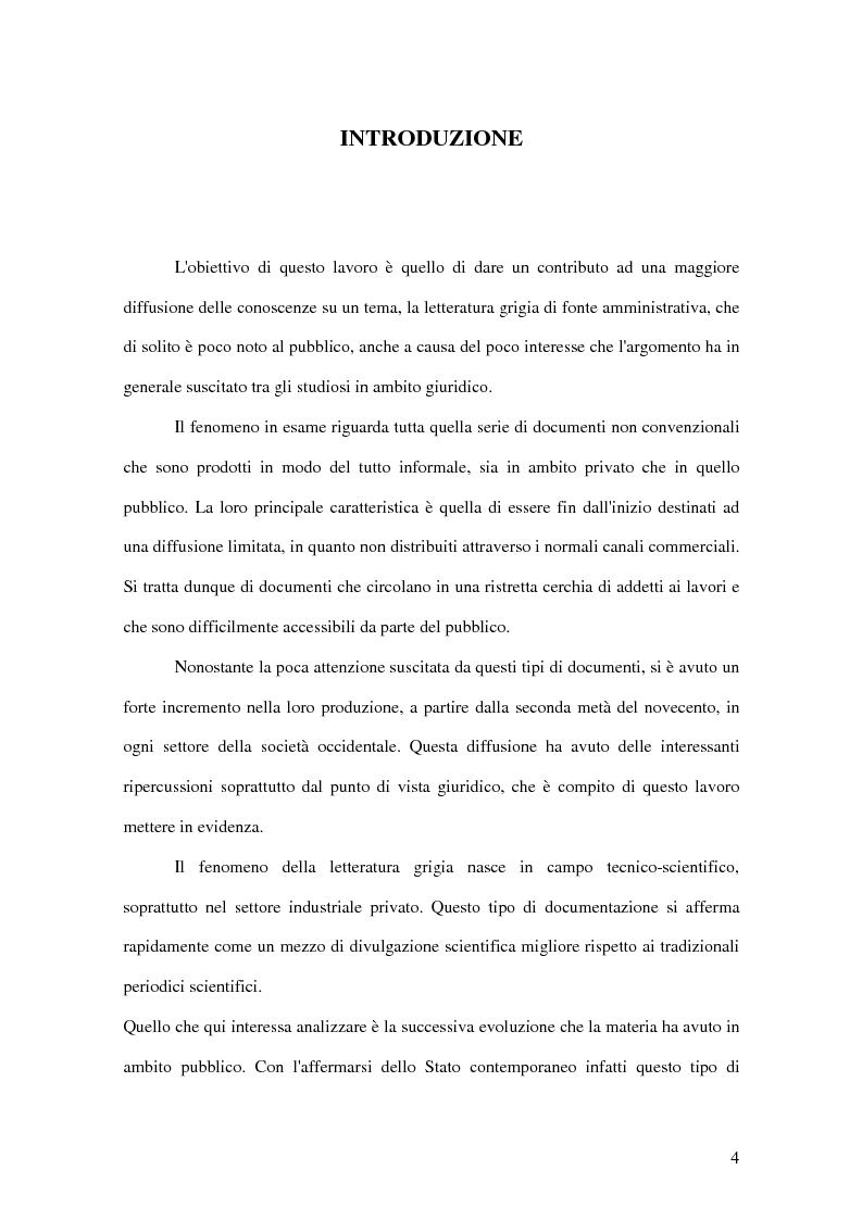 Anteprima della tesi: La letteratura ''grigia'' di fonte amministrativa, Pagina 1