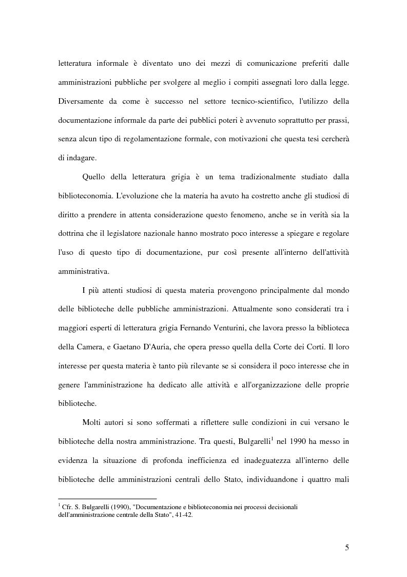 Anteprima della tesi: La letteratura ''grigia'' di fonte amministrativa, Pagina 2