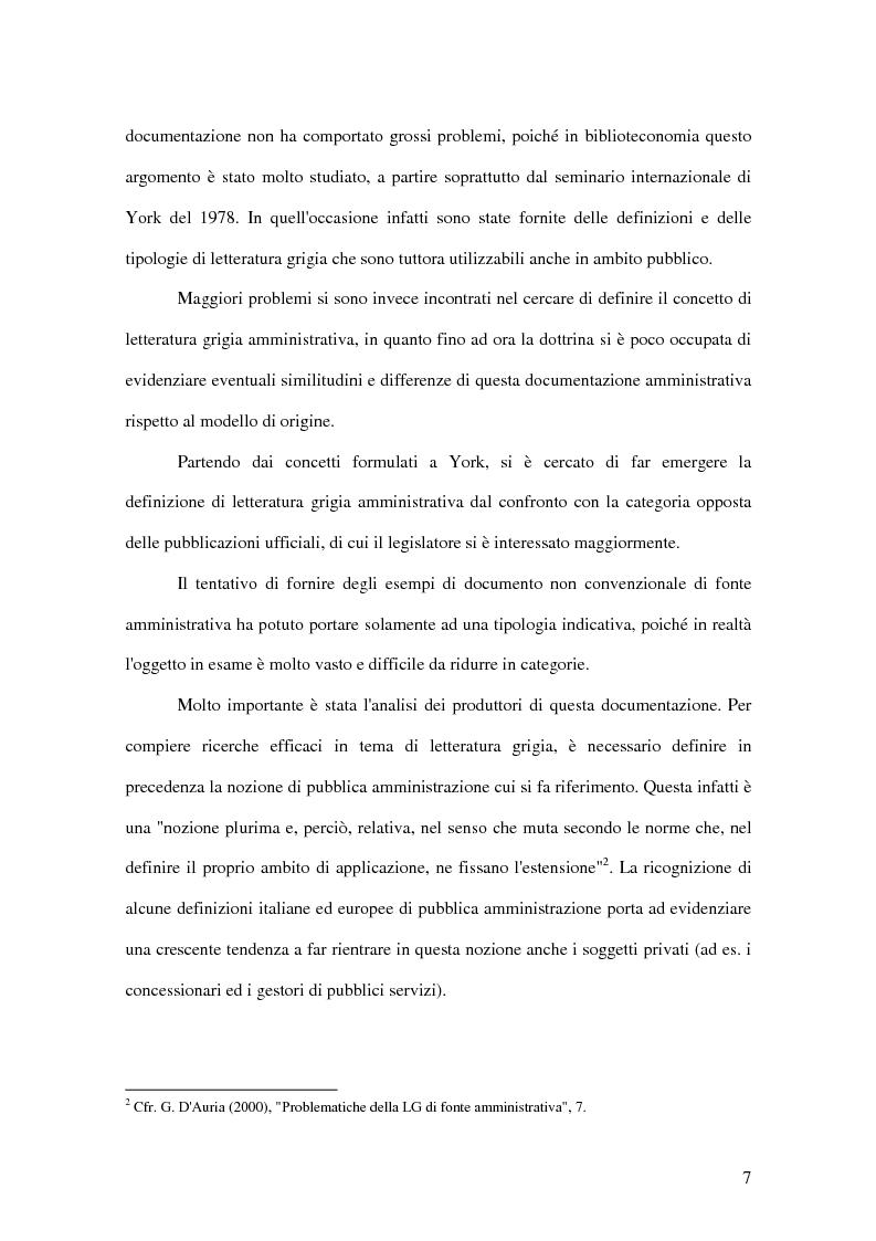 Anteprima della tesi: La letteratura ''grigia'' di fonte amministrativa, Pagina 4