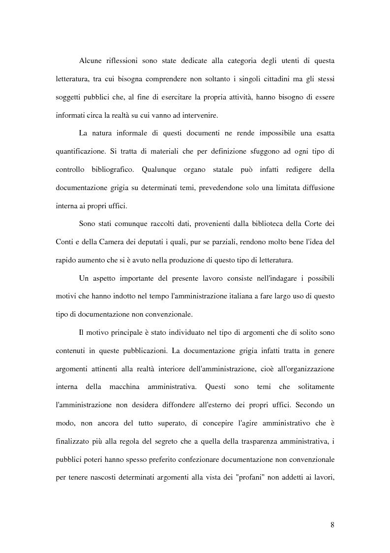 Anteprima della tesi: La letteratura ''grigia'' di fonte amministrativa, Pagina 5