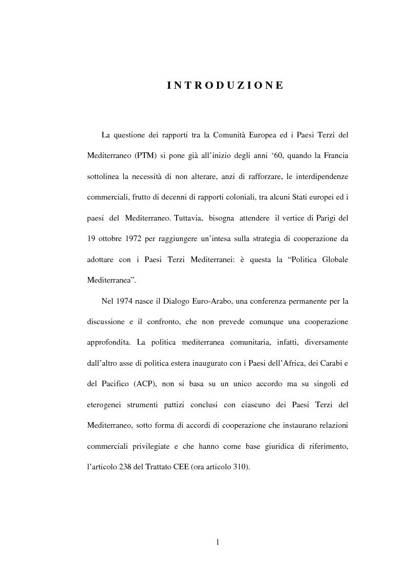 Anteprima della tesi: La politica di partenariato dell'Unione Europea con i Paesi del Maghreb (Algeria, Marocco e Tunisia), Pagina 1