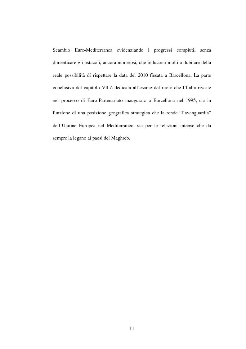 Anteprima della tesi: La politica di partenariato dell'Unione Europea con i Paesi del Maghreb (Algeria, Marocco e Tunisia), Pagina 11