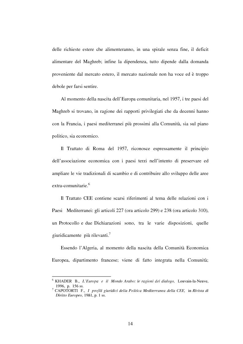 Anteprima della tesi: La politica di partenariato dell'Unione Europea con i Paesi del Maghreb (Algeria, Marocco e Tunisia), Pagina 14