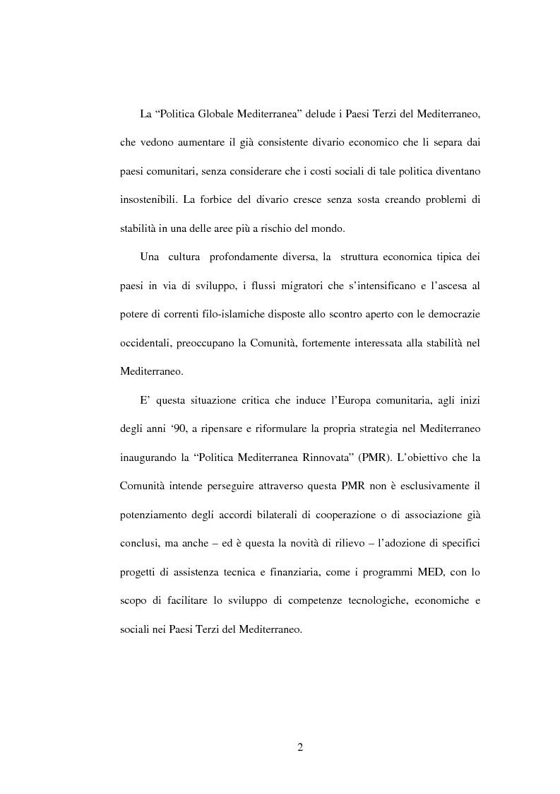 Anteprima della tesi: La politica di partenariato dell'Unione Europea con i Paesi del Maghreb (Algeria, Marocco e Tunisia), Pagina 2