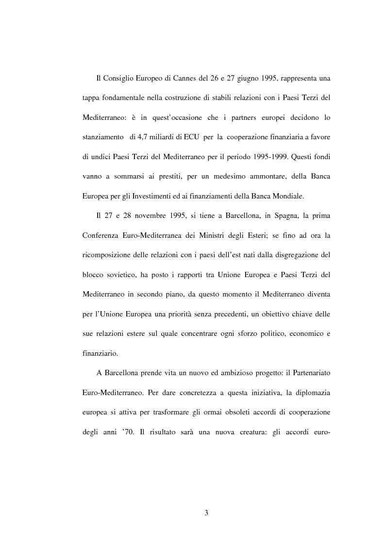 Anteprima della tesi: La politica di partenariato dell'Unione Europea con i Paesi del Maghreb (Algeria, Marocco e Tunisia), Pagina 3