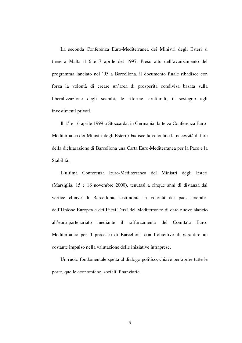Anteprima della tesi: La politica di partenariato dell'Unione Europea con i Paesi del Maghreb (Algeria, Marocco e Tunisia), Pagina 5