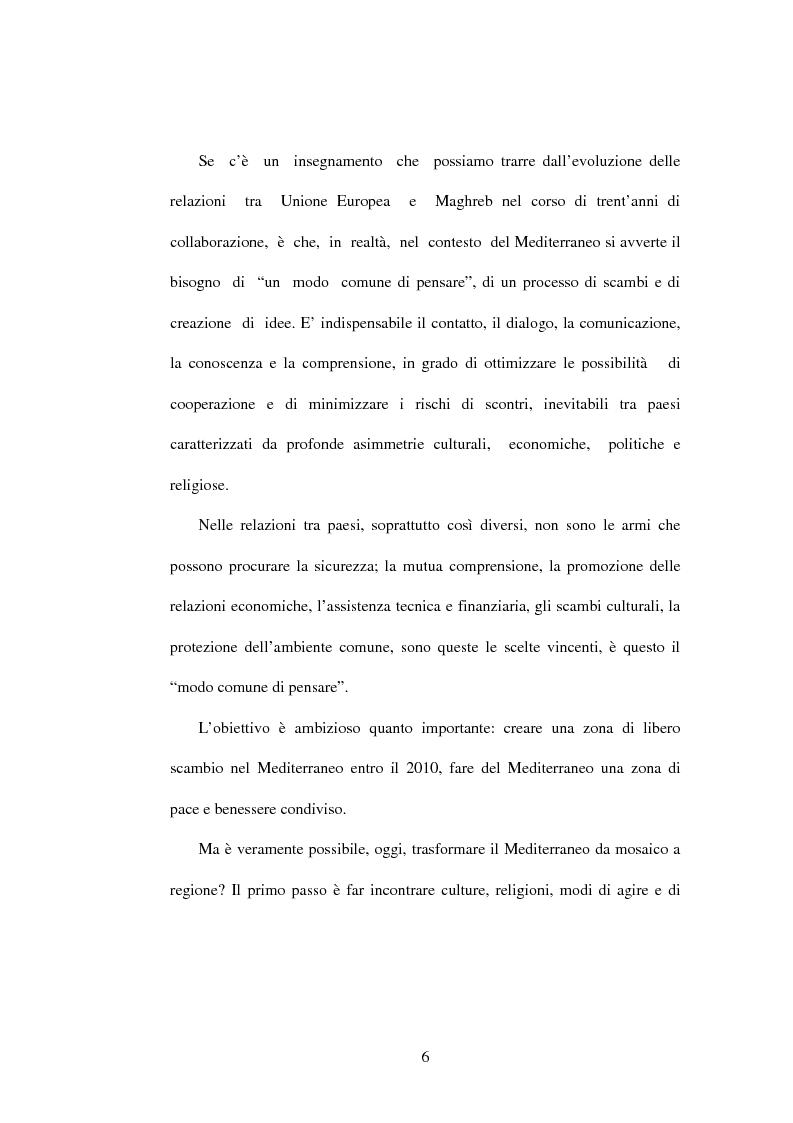 Anteprima della tesi: La politica di partenariato dell'Unione Europea con i Paesi del Maghreb (Algeria, Marocco e Tunisia), Pagina 6