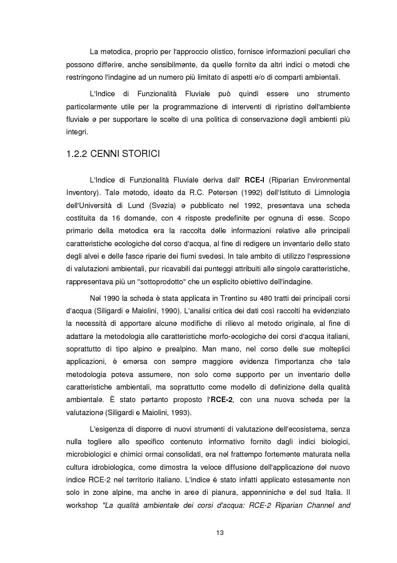 Anteprima della tesi: Applicazione dell'Indice di Funzionalità Fluviale nel fiume Fella e nel torrente Bartolo (Friuli Venezia Giulia), Pagina 12