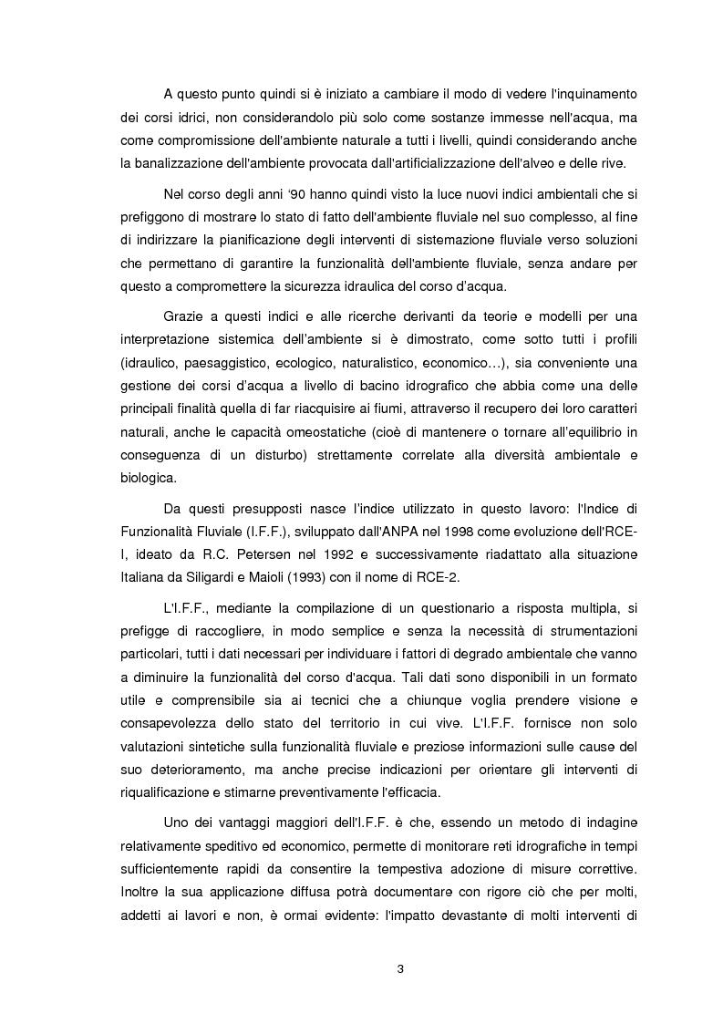 Anteprima della tesi: Applicazione dell'Indice di Funzionalità Fluviale nel fiume Fella e nel torrente Bartolo (Friuli Venezia Giulia), Pagina 2