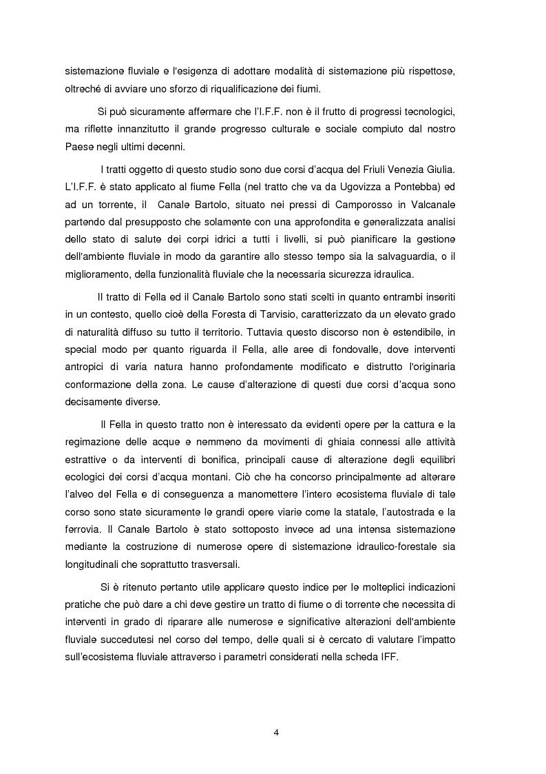 Anteprima della tesi: Applicazione dell'Indice di Funzionalità Fluviale nel fiume Fella e nel torrente Bartolo (Friuli Venezia Giulia), Pagina 3