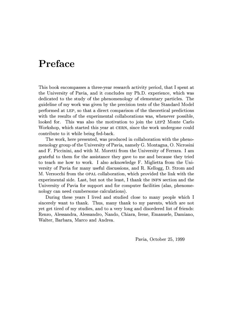 Anteprima della tesi: Electro-weak physics with forward dynamics at LEP, Pagina 1