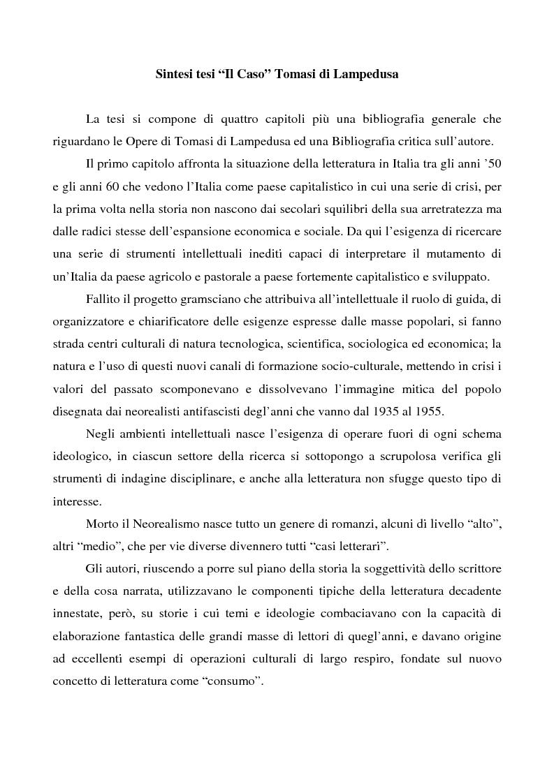 Anteprima della tesi: Il ''caso'' Tomasi di Lampedusa, Pagina 1