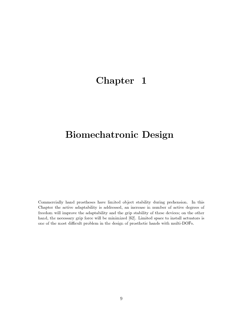 Anteprima della tesi: Hand prosthesis design: Enhancing grasping capabilities through mechanical features, Pagina 9