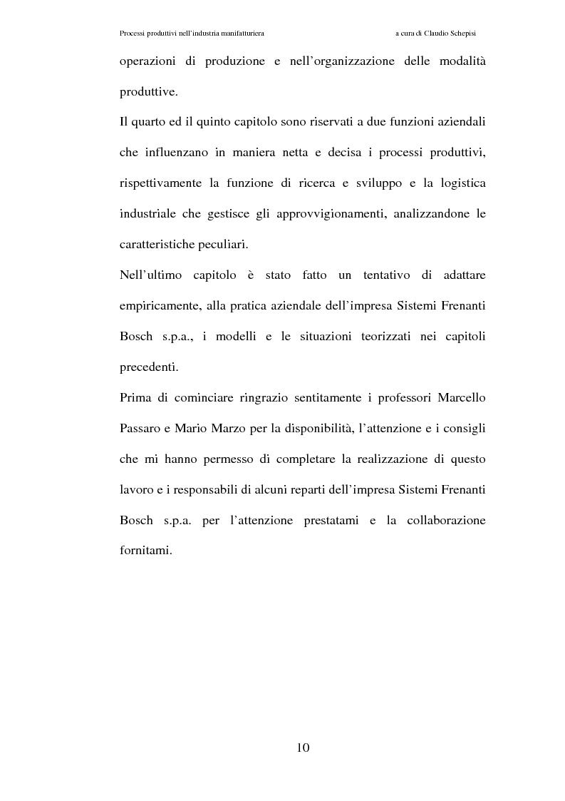 Anteprima della tesi: Processi produttivi nell'industria manifatturiera. Caso aziendale sistemi frenanti Bosch S.p.a., Pagina 3