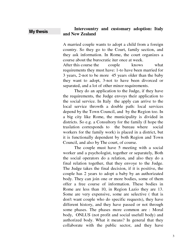 Anteprima della tesi: Adozione internazionale: Italia e nuova Zelanda a confronto, Pagina 1