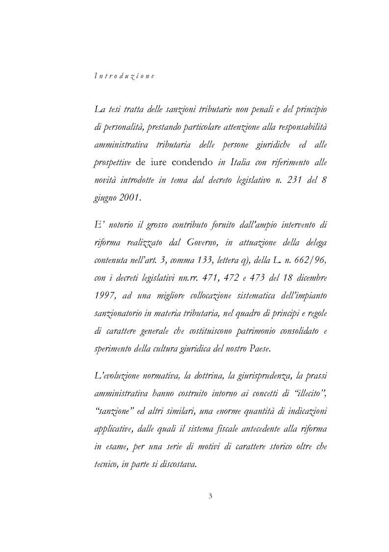 Anteprima della tesi: Sanzioni amministrative tributarie e principio di personalità, Pagina 1