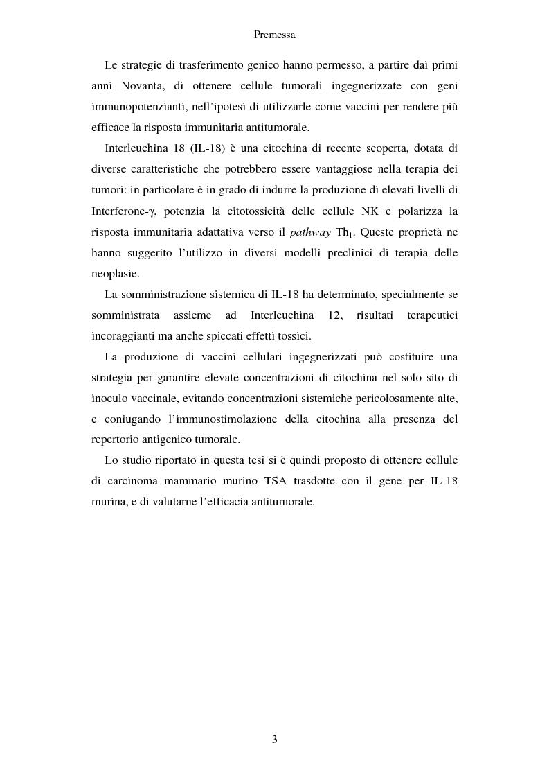Anteprima della tesi: Produzione di vaccini per la terapia genica mediante trasduzione di Interleuchina 18 in cellule di carcinoma mammario murino, Pagina 2
