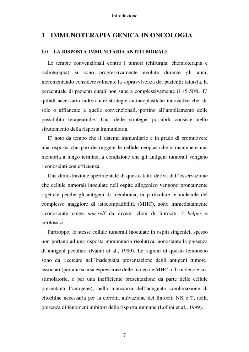 Anteprima della tesi: Produzione di vaccini per la terapia genica mediante trasduzione di Interleuchina 18 in cellule di carcinoma mammario murino, Pagina 4