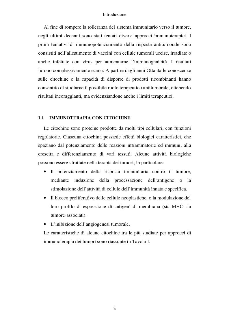 Anteprima della tesi: Produzione di vaccini per la terapia genica mediante trasduzione di Interleuchina 18 in cellule di carcinoma mammario murino, Pagina 5