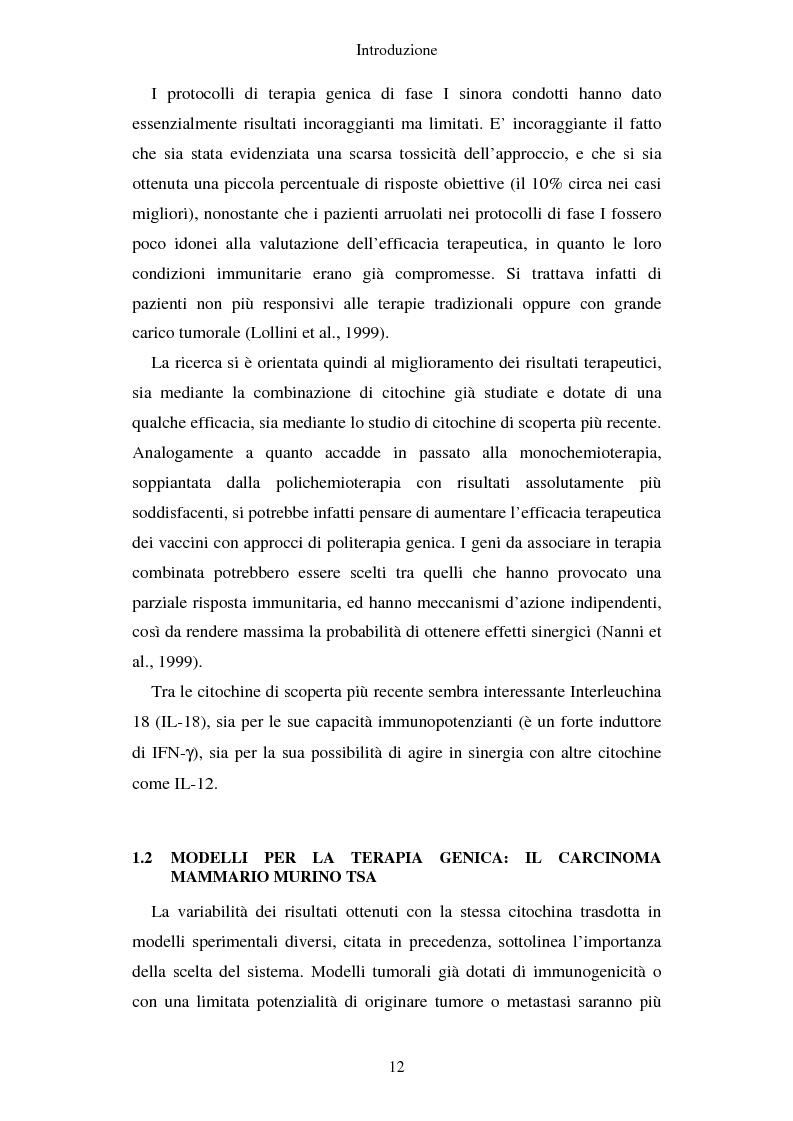 Anteprima della tesi: Produzione di vaccini per la terapia genica mediante trasduzione di Interleuchina 18 in cellule di carcinoma mammario murino, Pagina 9