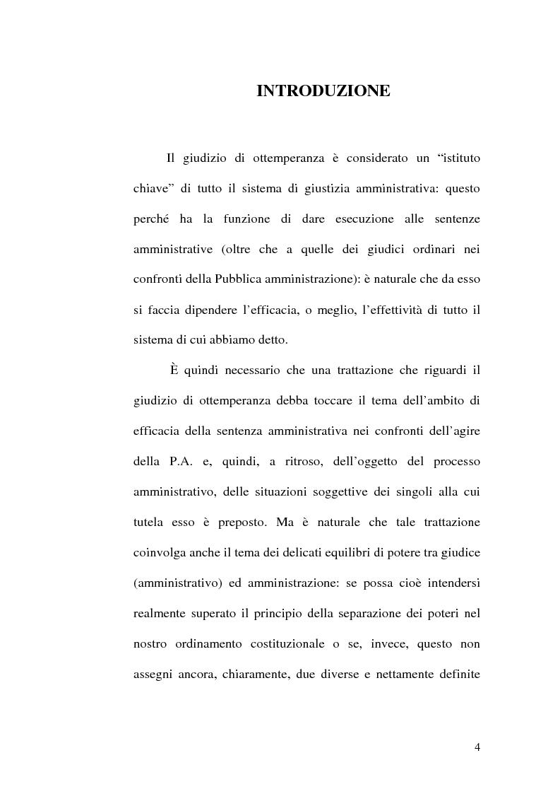 Anteprima della tesi: L'ottemperanza alle decisioni del giudice amministrativo dopo la legge n. 205 del 2000, Pagina 1