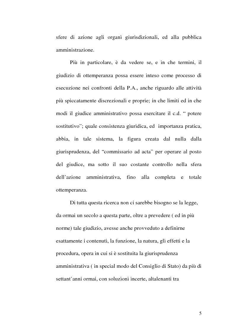 Anteprima della tesi: L'ottemperanza alle decisioni del giudice amministrativo dopo la legge n. 205 del 2000, Pagina 2