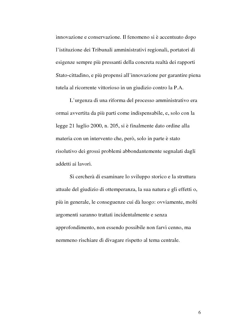 Anteprima della tesi: L'ottemperanza alle decisioni del giudice amministrativo dopo la legge n. 205 del 2000, Pagina 3